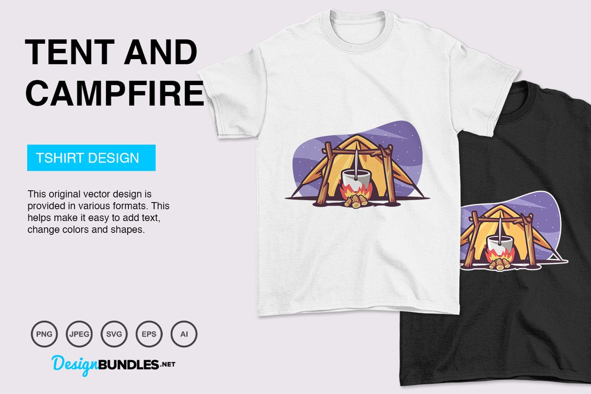 Tent and Campfire Vector Illustration For T-Shirt Design example image 1