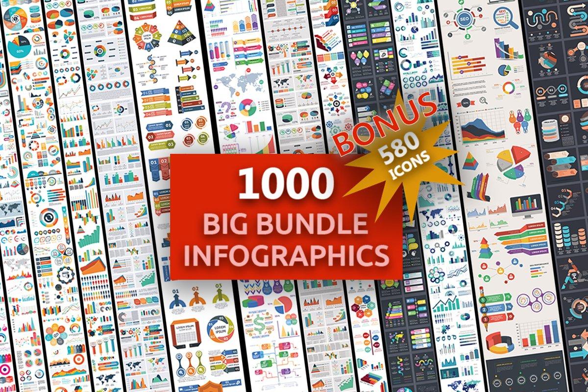 1000 Ultra Big Bundle Infographics Elements example image 1