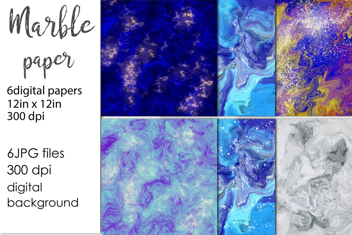 Blue Marble Background, Marble digital paper example image 1