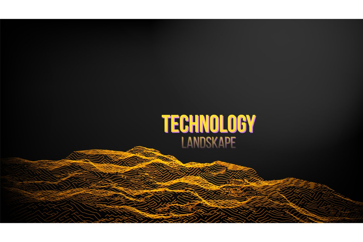 Abstract Digital Landscape Background Vector. Emitting In example image 1