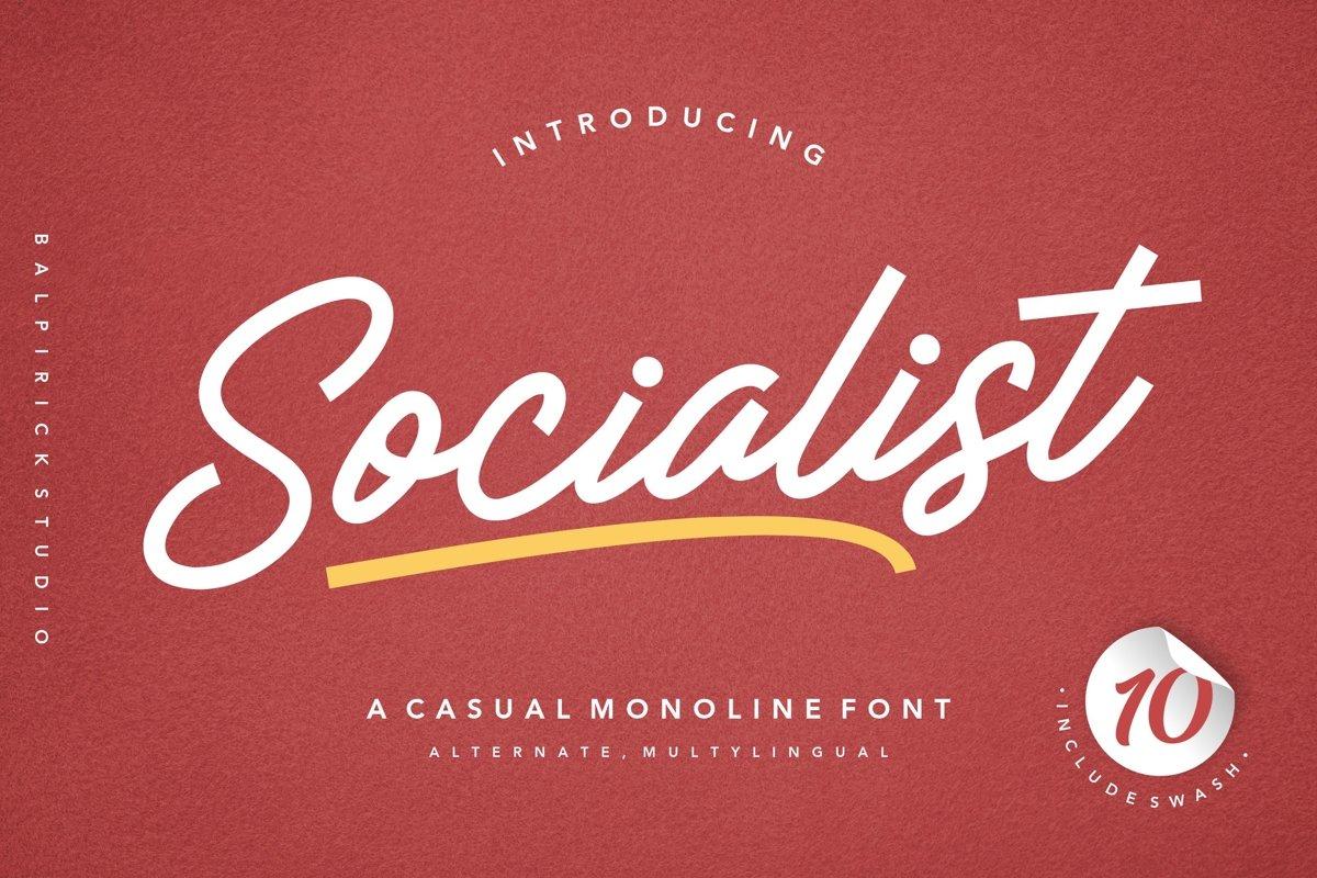 Socialist a Casual Monoline Font example image 1