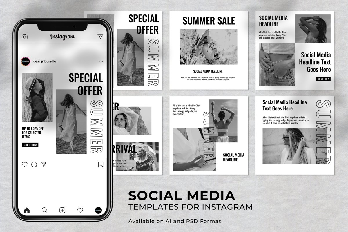 Black and White Fashion Instagram Social Media Template example image 1