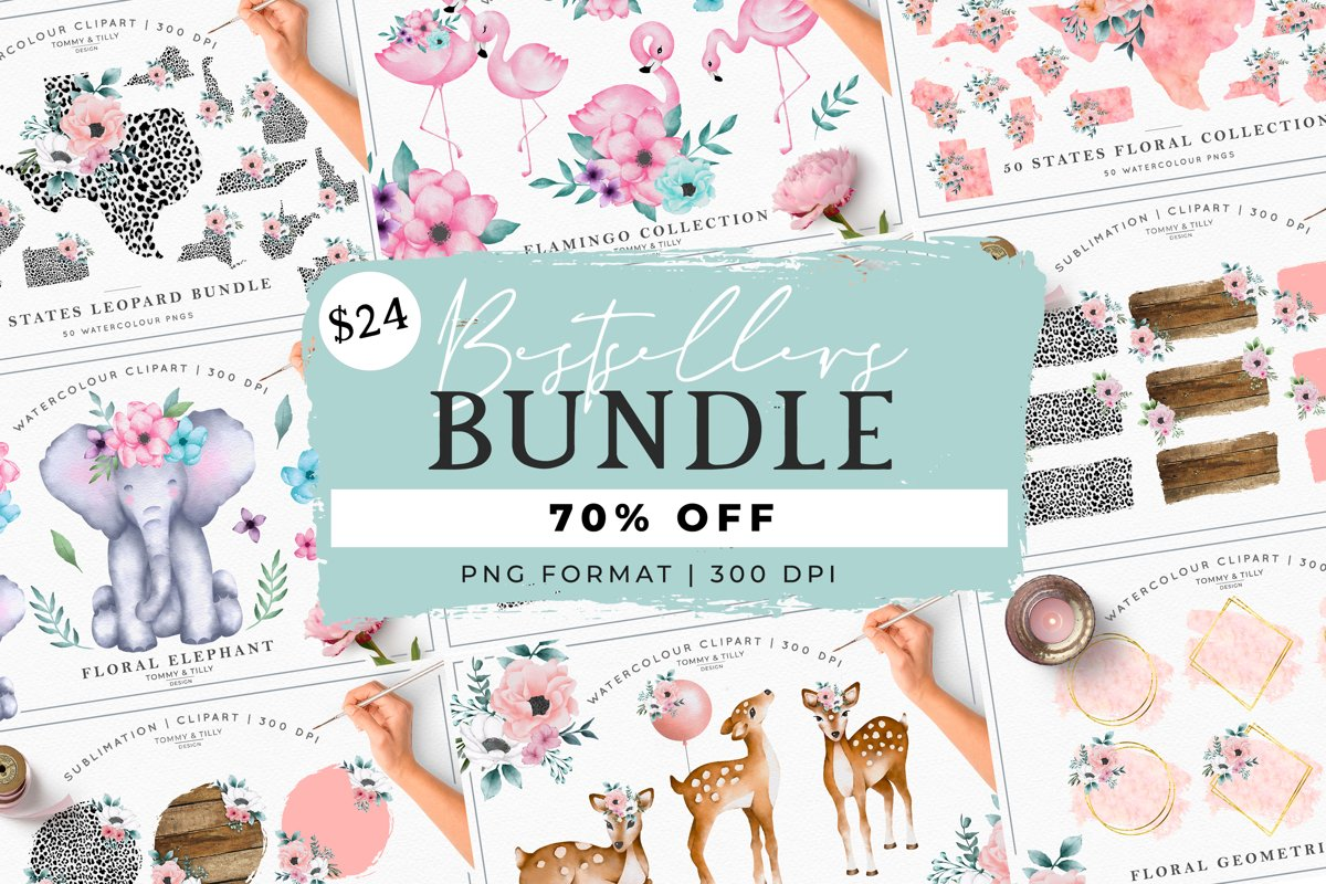 MEGA BUNDLE! Bestsellers - Clipart | Sublimation | PNG example image 1