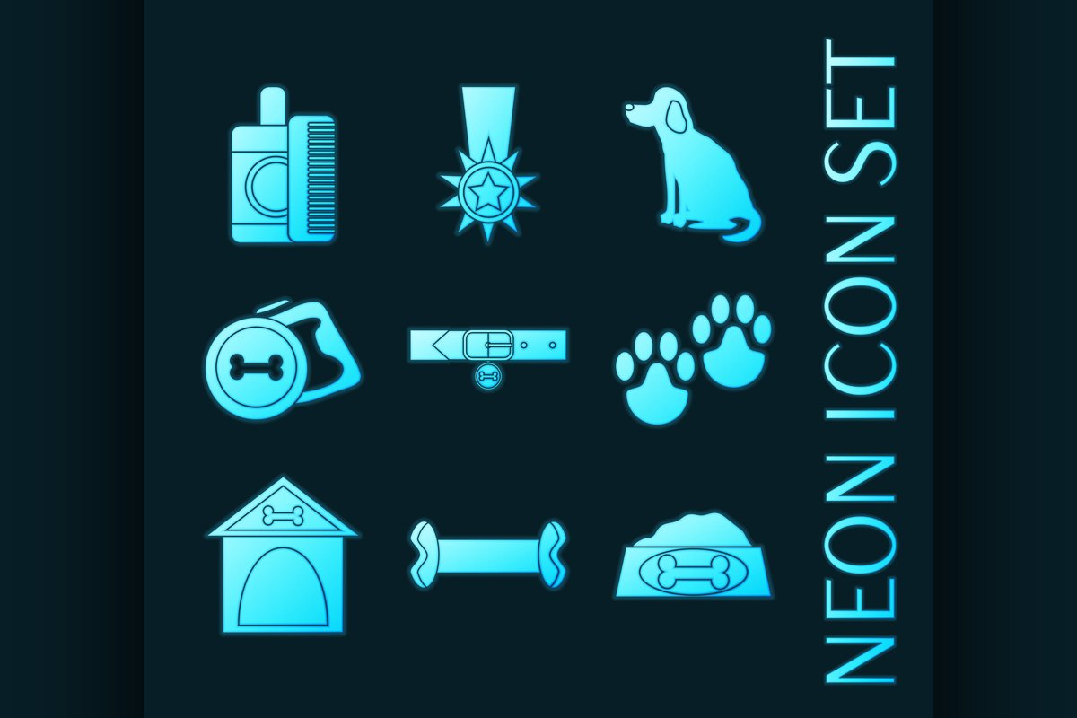 Set of Dog blue glowing neon icons example image 1
