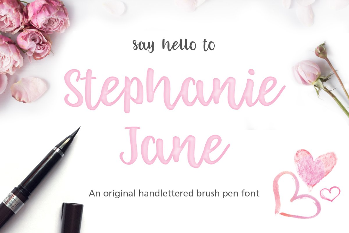 Stephanie Jane hand lettered font example image 1