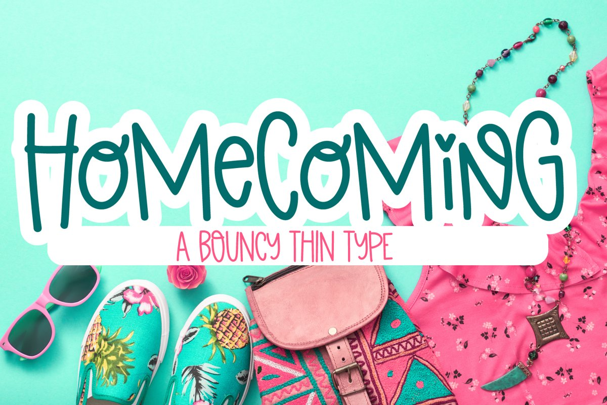 Homecoming - A Bouncy Thin Monoline Font example image 1