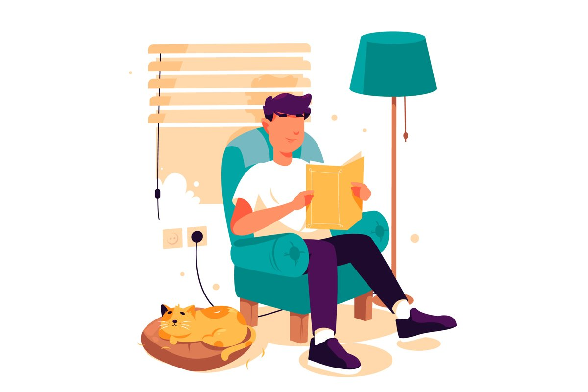 Man Reading Book -Vector Illustration example image 1