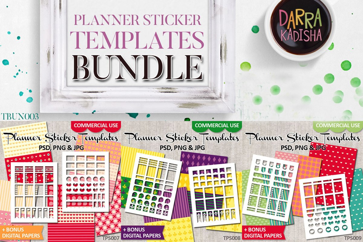 Planner Stickers Templates Bundle Vol. 3 - Digital Kit example image 1