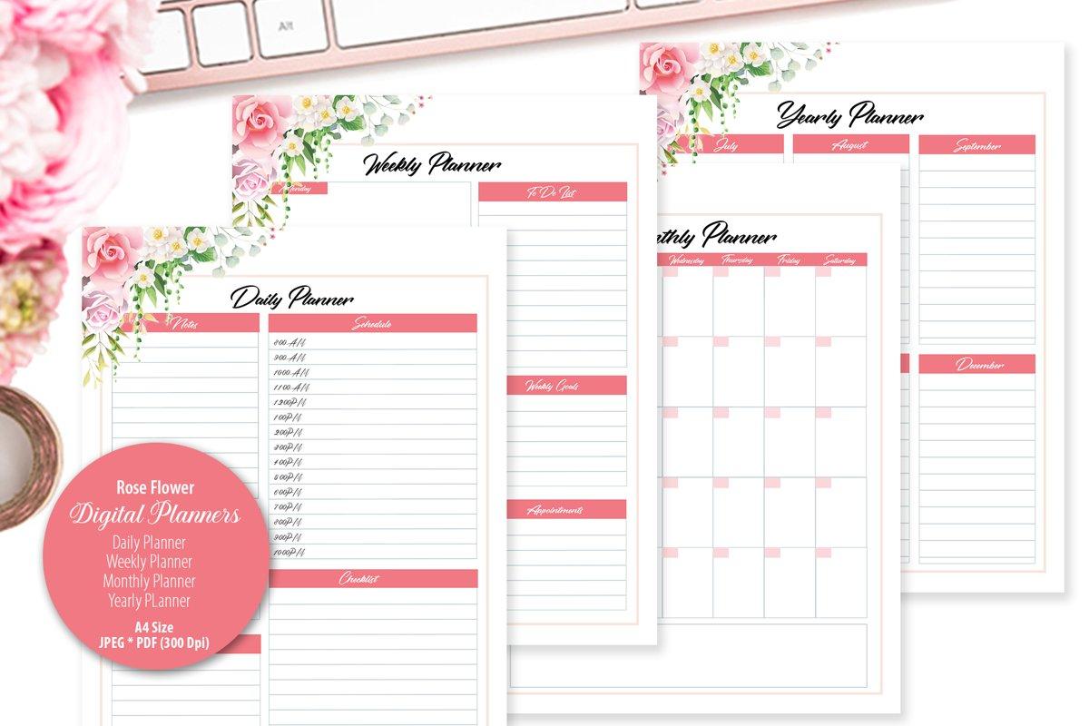 Rose Flower Digital Planner example image 1