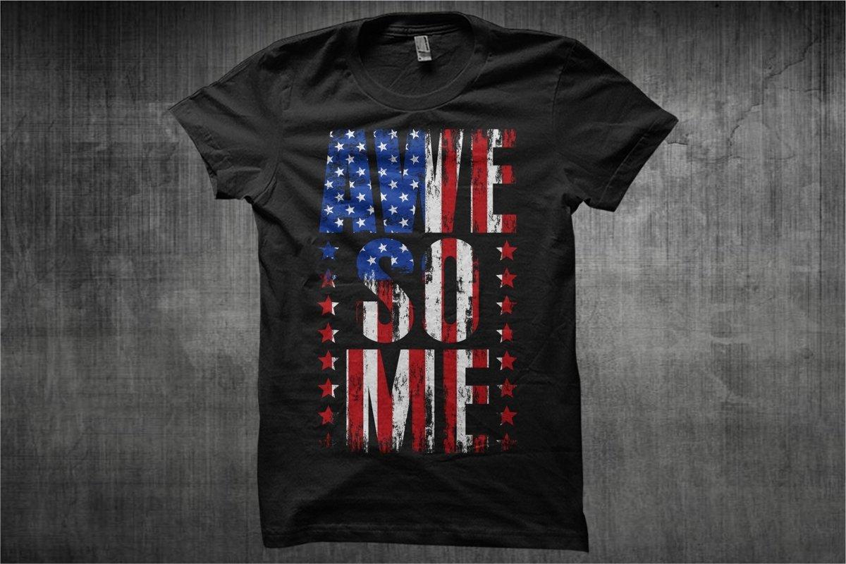 Awesome Text USA Flag - Typography Awesome USA Flag example image 1
