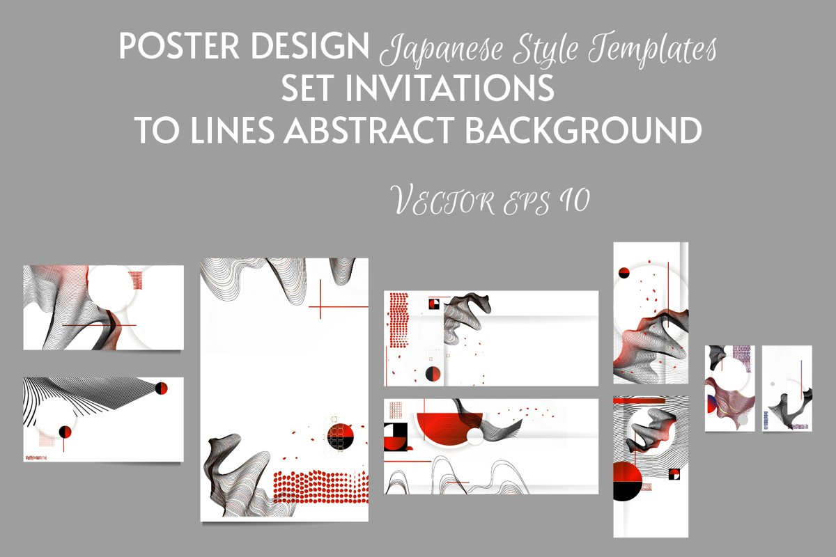 Japanese style templates set invitations example image 1
