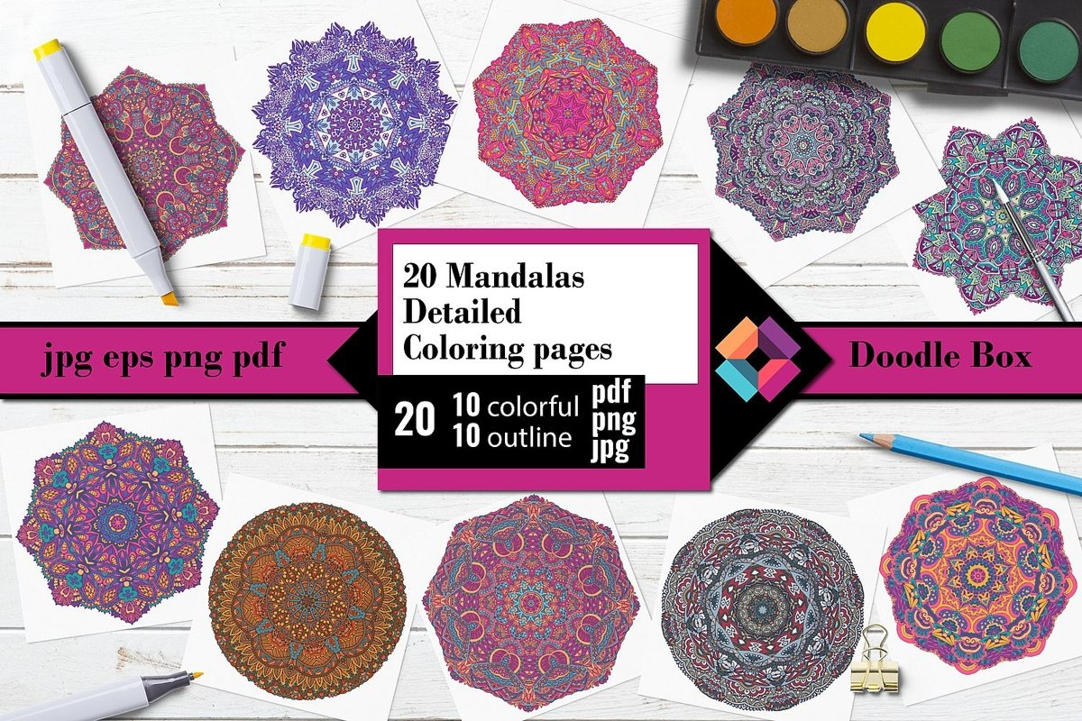 Mandalas detailed Coloring pages example image 1