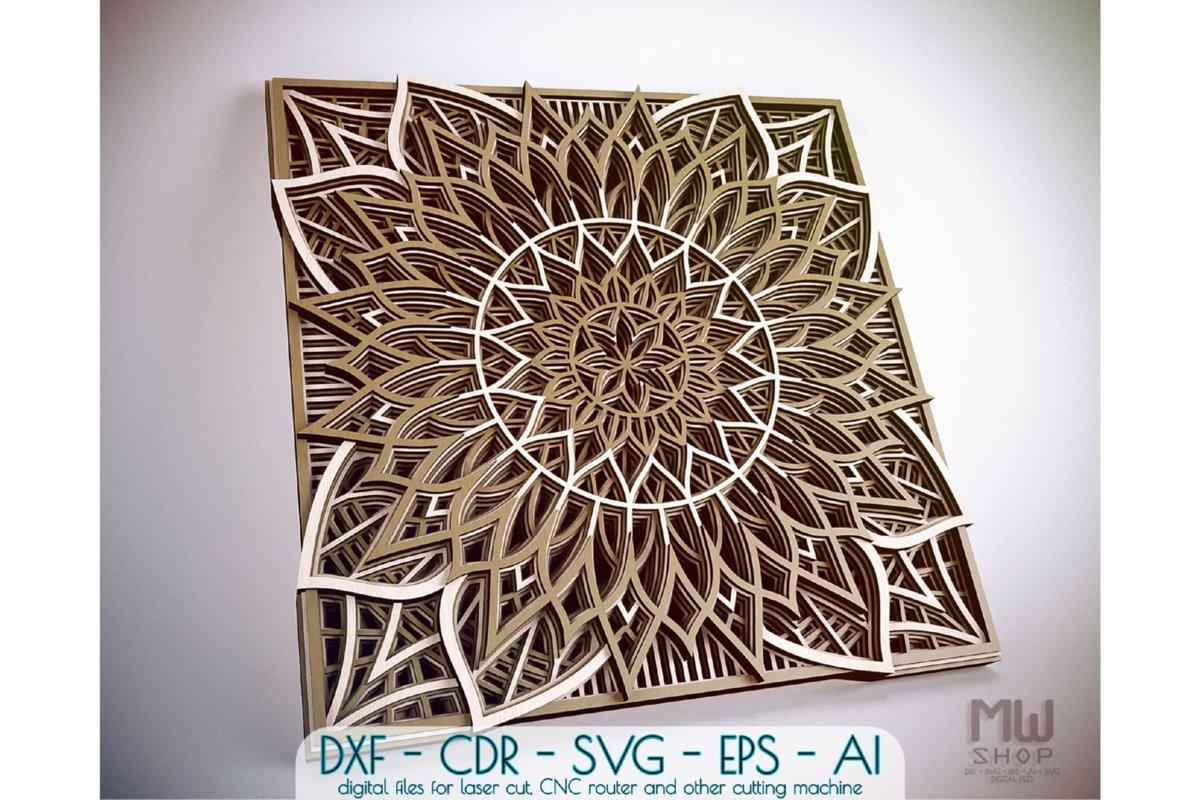 M94 - Flower Mandala DXF file, Multilayer Mandala SVG example image 1