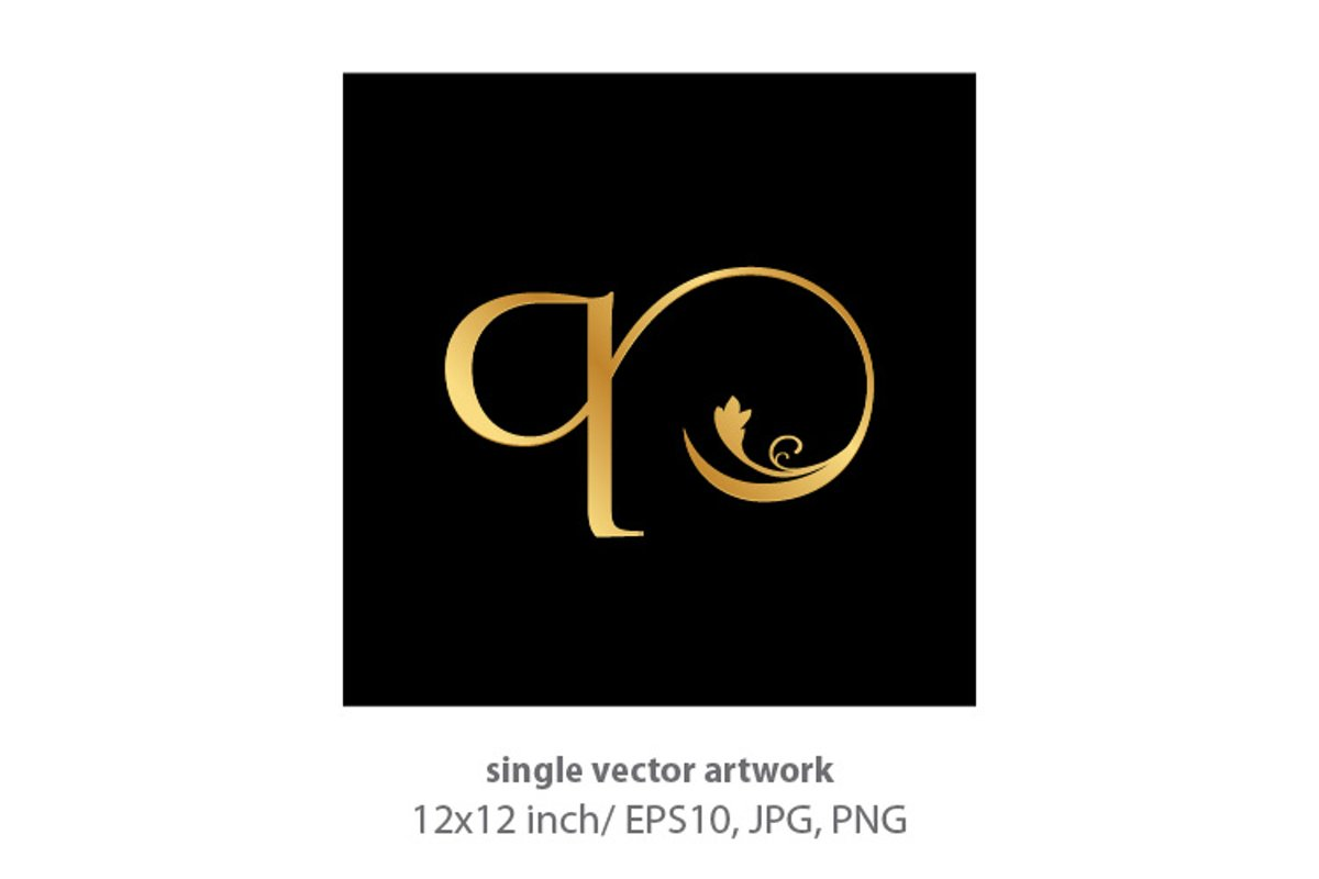 Decorative golden letter q example image 1