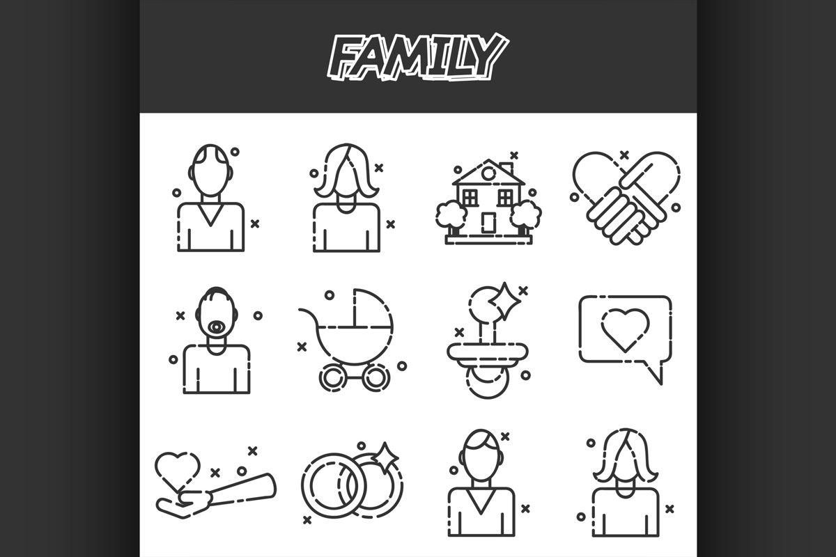 Family icons set example image 1