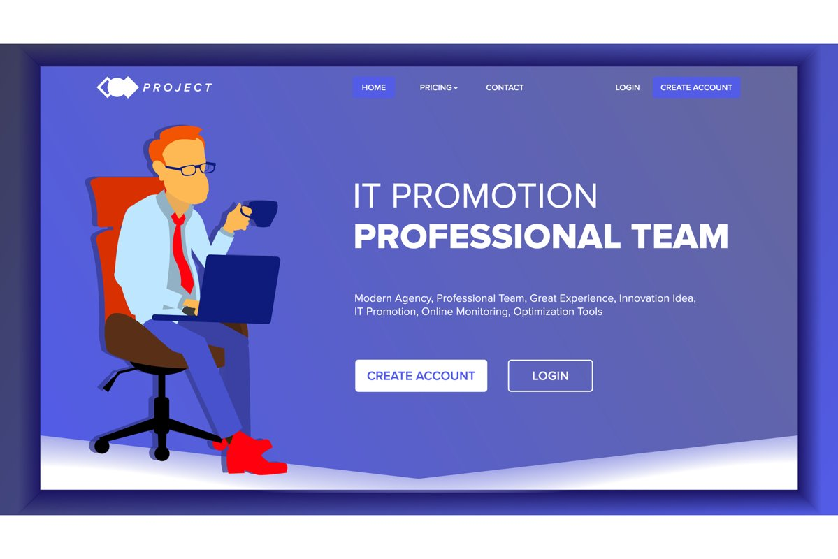 Landing Website Page Vector. Business Agency. Web Page. example image 1