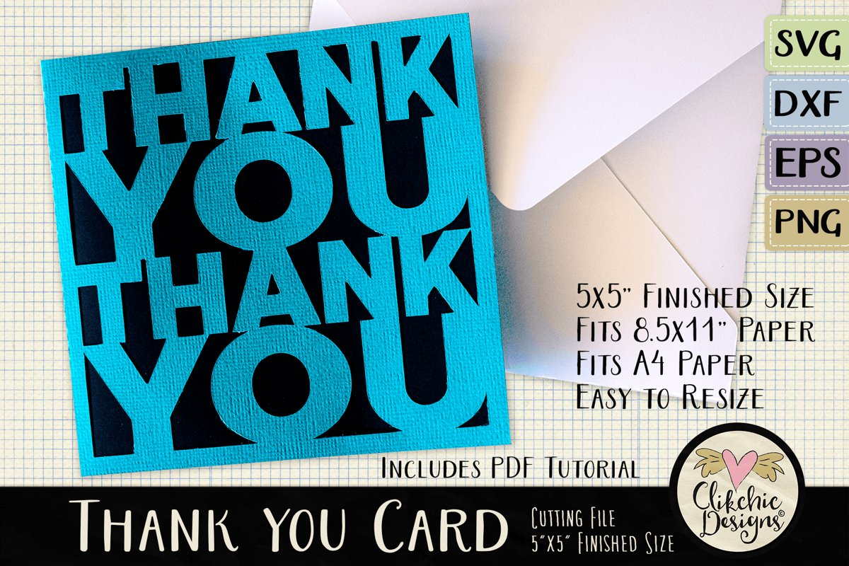 Thank You Card SVG - Thanks Card Cutting File, DXF, PNG, EPS example image 1