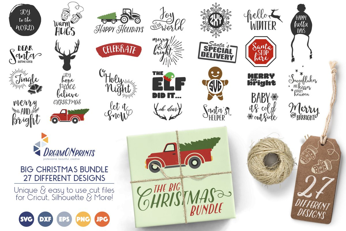 The BIG CHRISTMAS Holidays Bundle - 27 SVG Designs example image 1