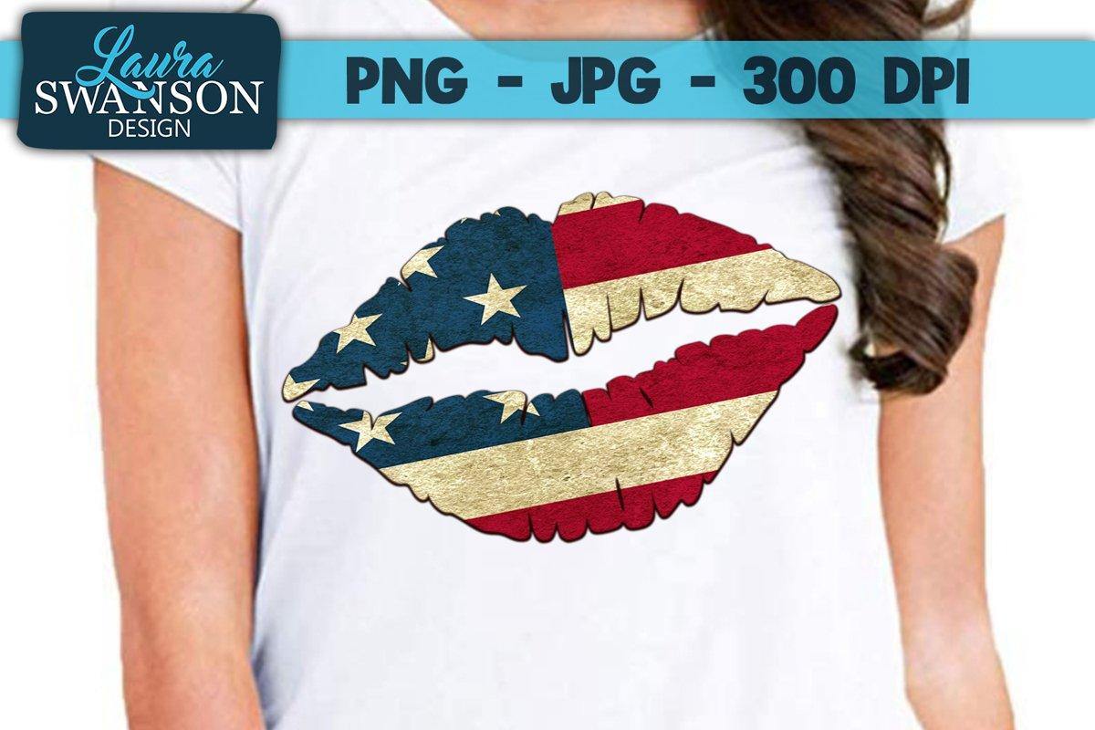 Patriotic Lips PNG, JPG, Sublimation, PrintnCut example image 1