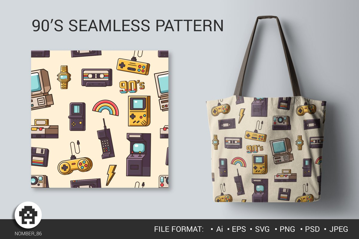 The 90's Seamless Pattern / Digital Paper for print. example image 1