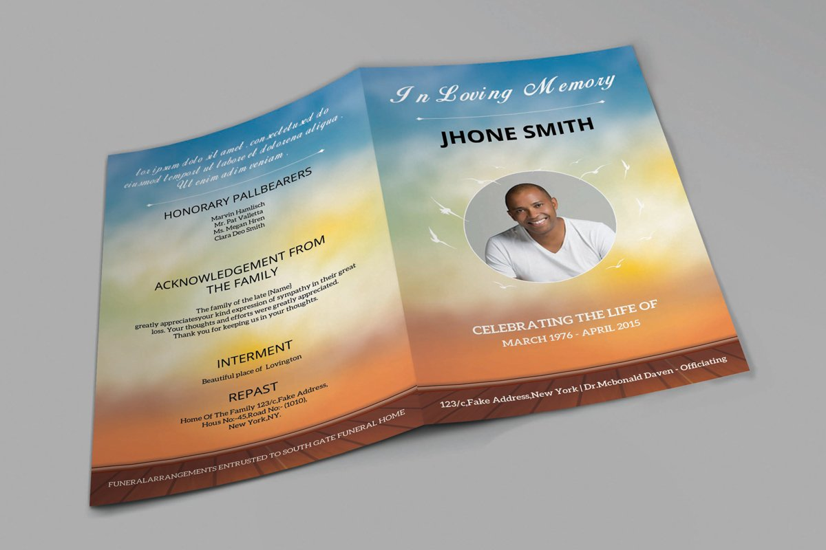 Funeral Program Template, Ms Word & Photoshop Template example image 1