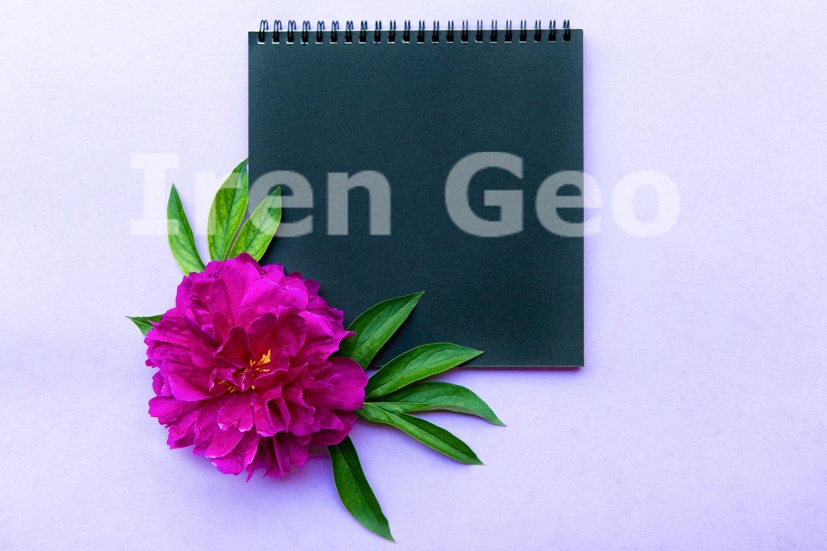 Mockup with black Notepad and large lush peony example image 1