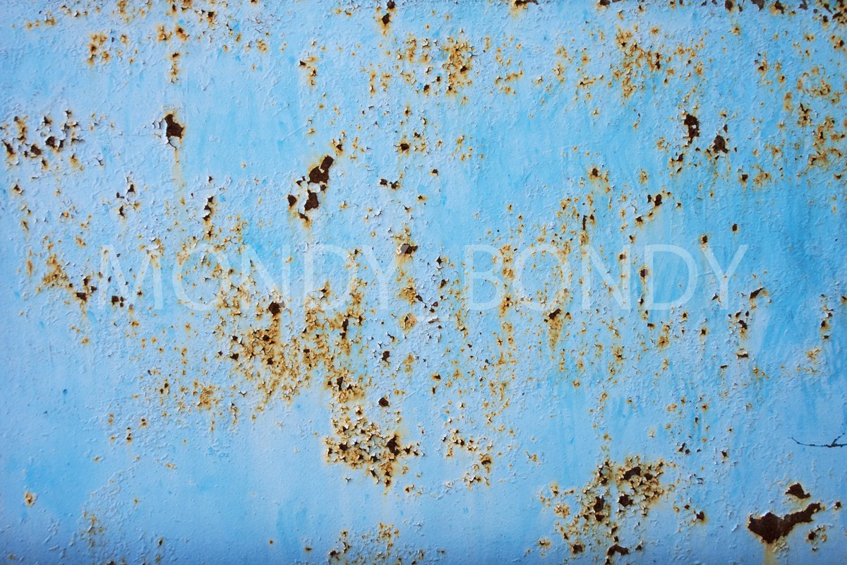 Old blue wall with peeling paint example image 1