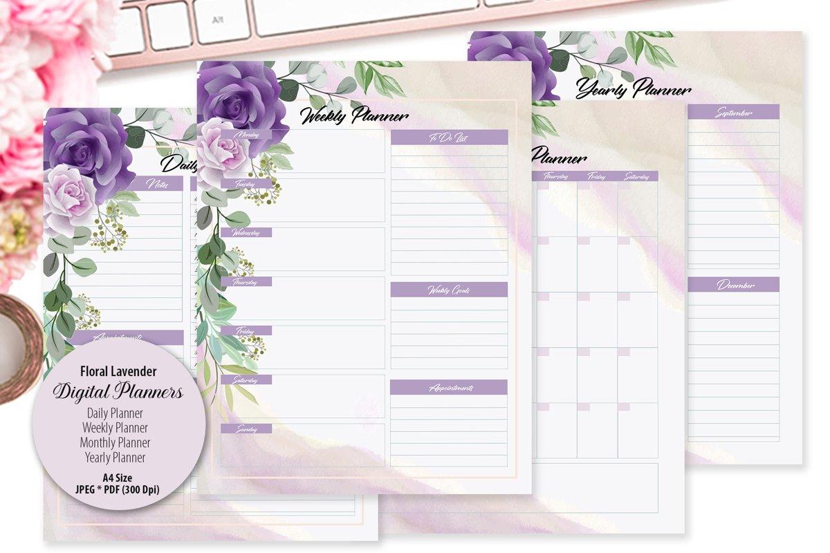Floral Lavender Digital Planner example image 1
