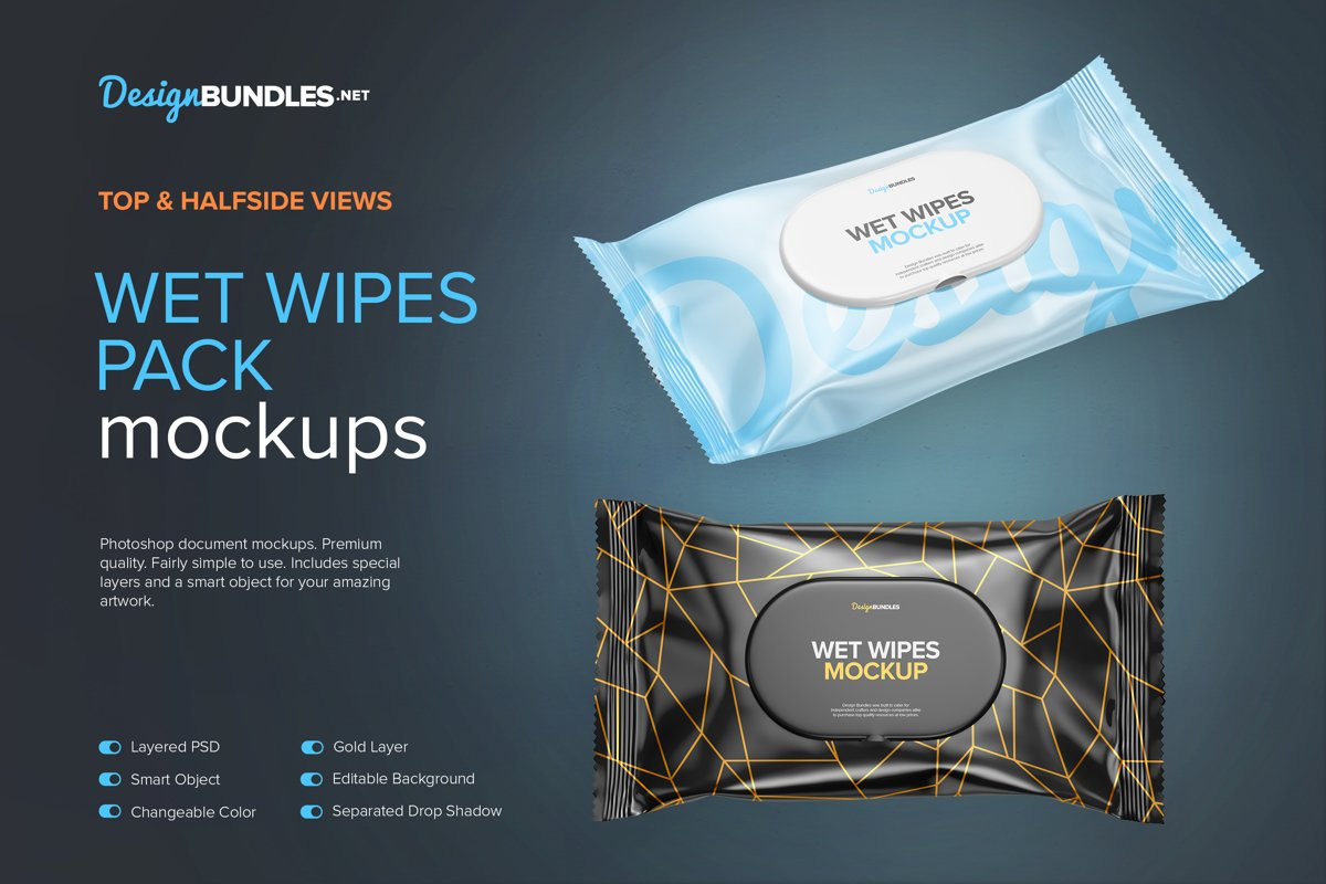 Wet Wipes Pack Mockups example image 1