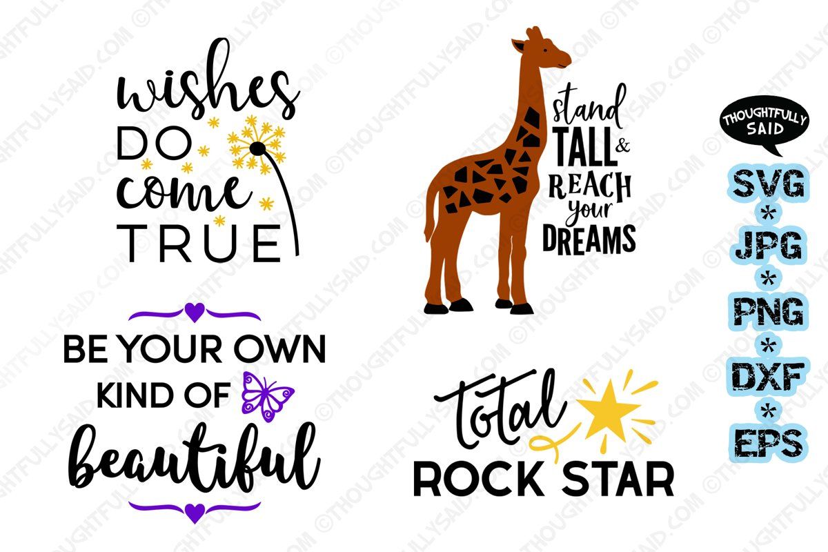 Inspirational 4 pack SVG cut file JPG PNG DXF EPS designs example image 1