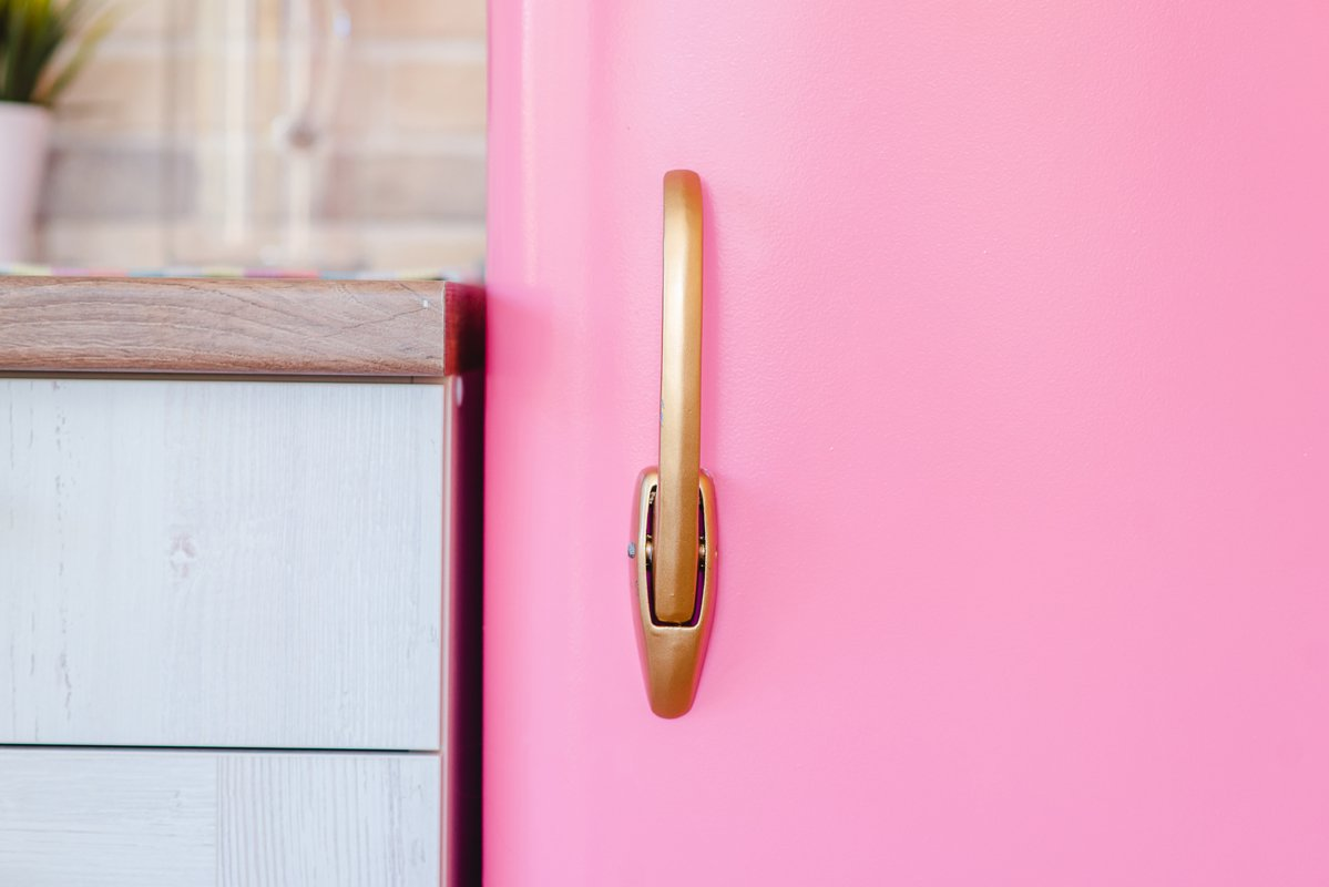 Handle pink refrigerator in retro style example image 1