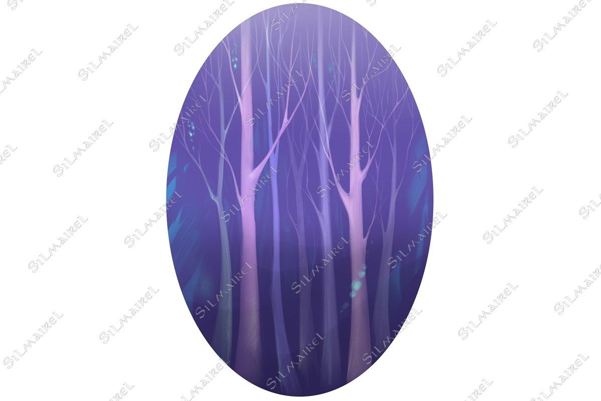Violet trees magic wood forest digital art example image 1