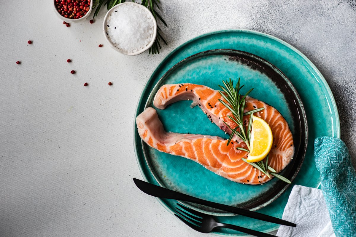 Healthy food concept with salmon example image 1