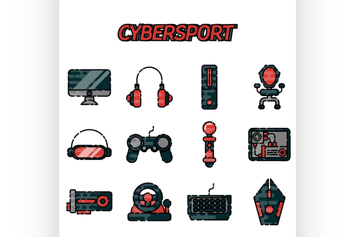 Cybersport flat icons set example image 1