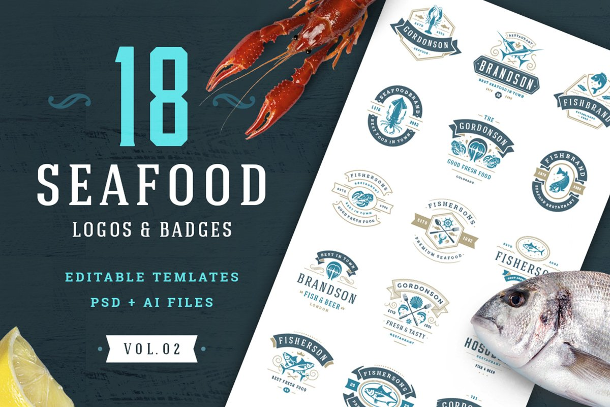 18 Seafood Logos & Badges example image 1