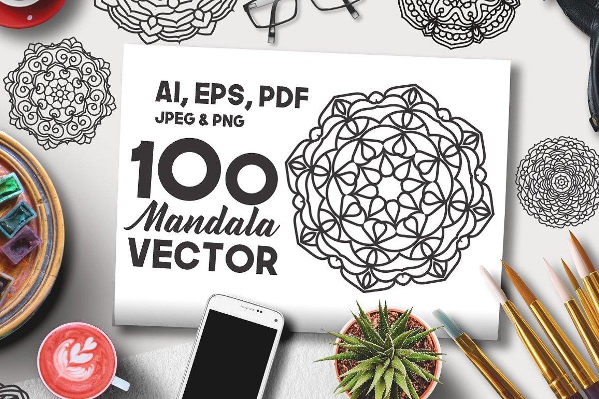 100 Vector Mandala Floral Ornaments example image 1