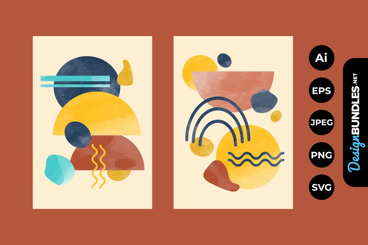 Abstract Watercolor Shapes Covers example image 1