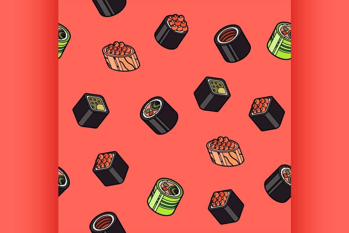 Sushi flat outline isomeric pattern example image 1