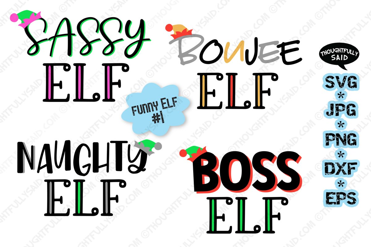 Funny Elf #1, 4 designs, SVG JPG PNG EPS DXF, Christmas example image 1