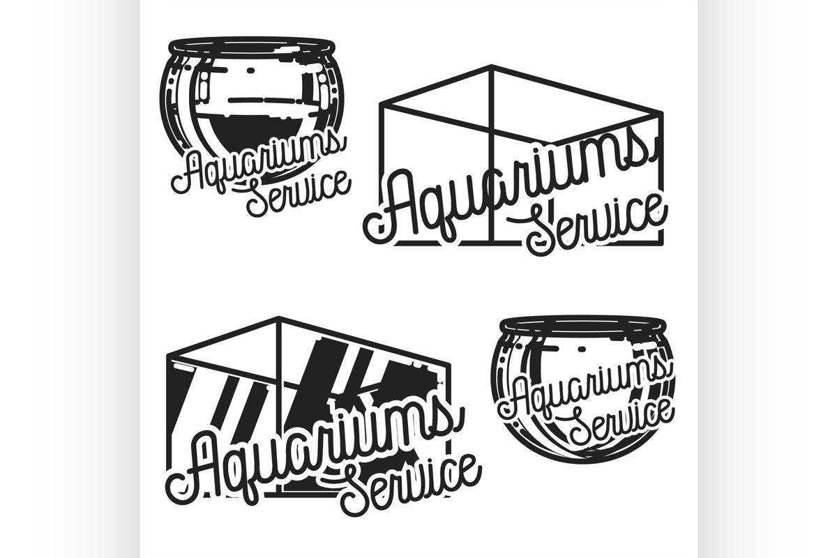 Color vintage aquariums service emblems example image 1
