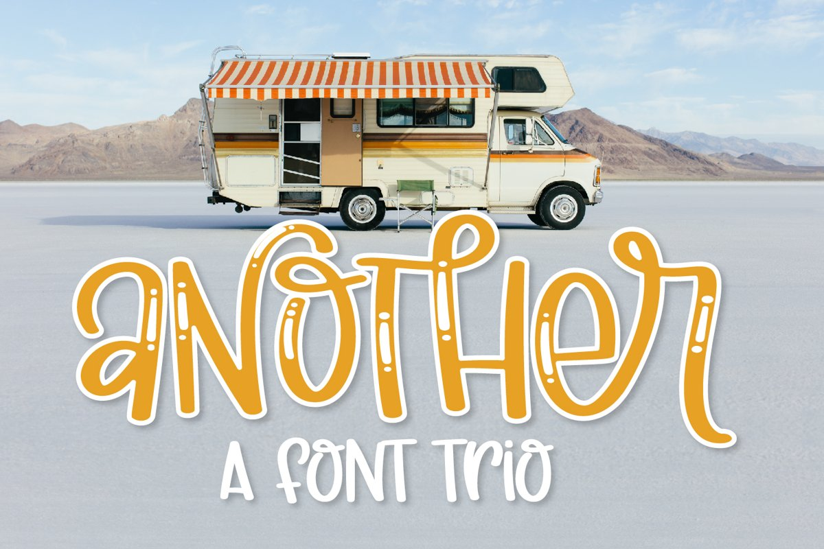 Another - A Thick Scripty Font Trio - with Shine & Outline example image 1