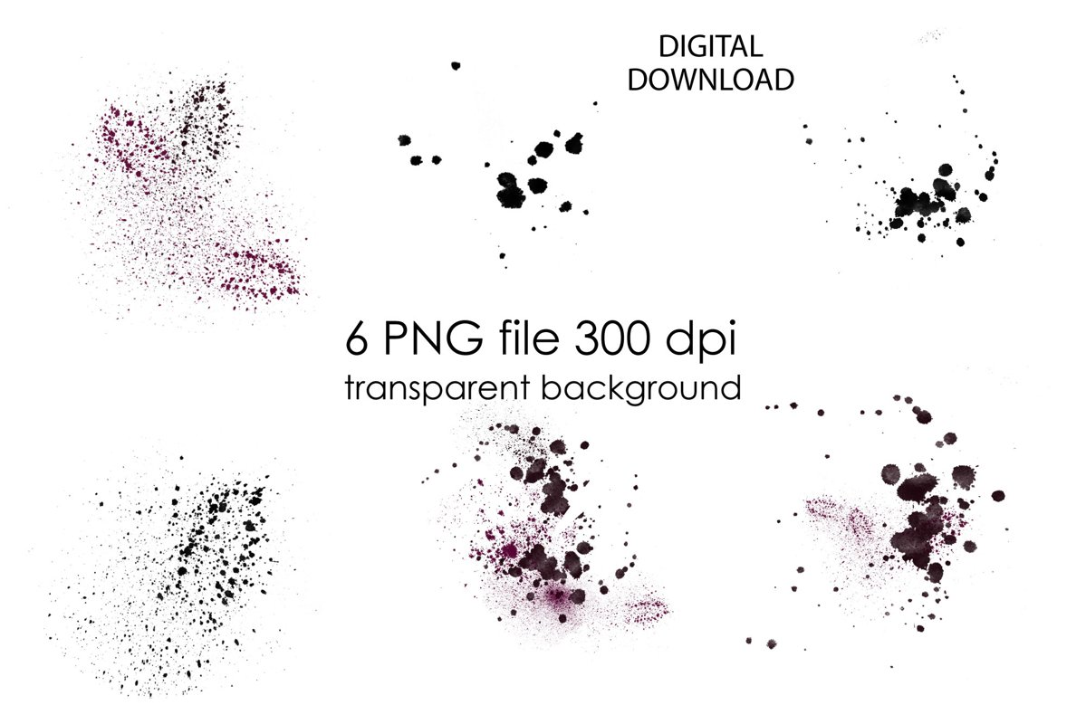 Black Watercolor Splashes Clipart example image 1