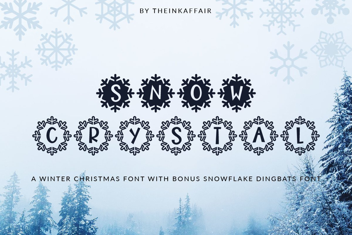 Snow Crystal, a winter christmas font example image 1