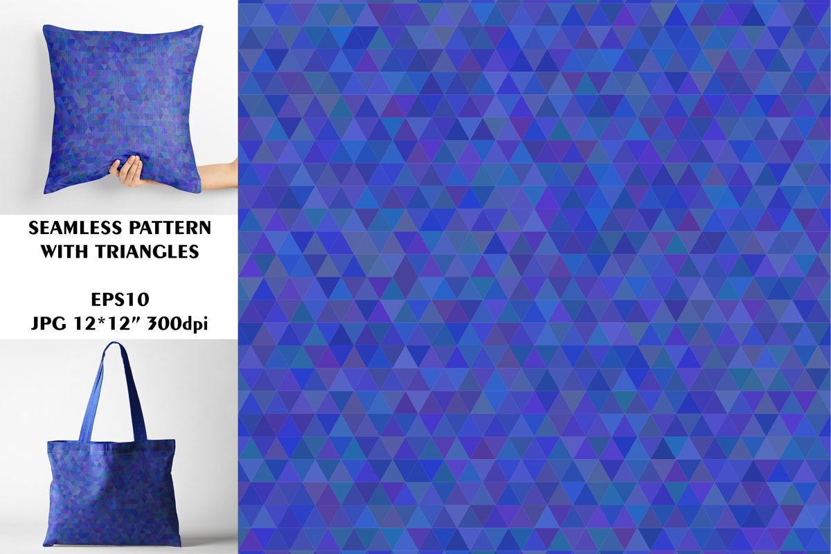 Seamless Pattern with Blue Triangles. Digital Paper. example image 1