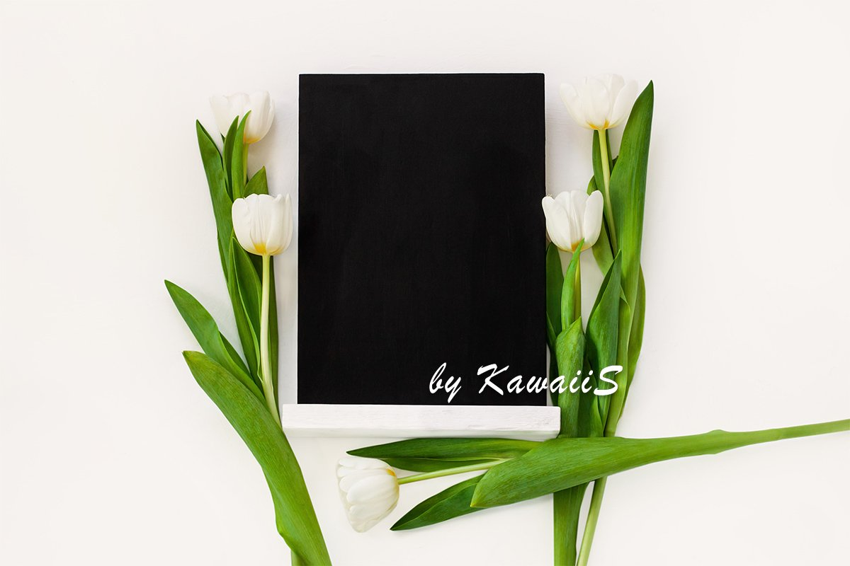 Black chalk board mockup with white tulip flowers template example image 1