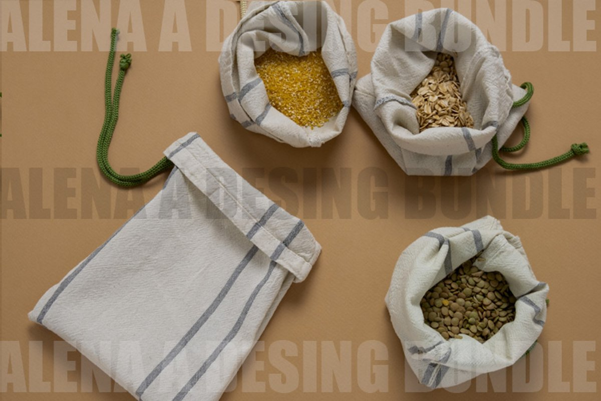 Cereals In Textile Bags Flat Lay example image 1