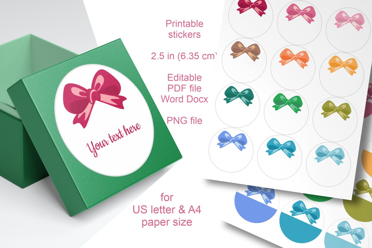 Assorted Colors Bow Round Labels 2.5 in A4 US Editable Text example image 1
