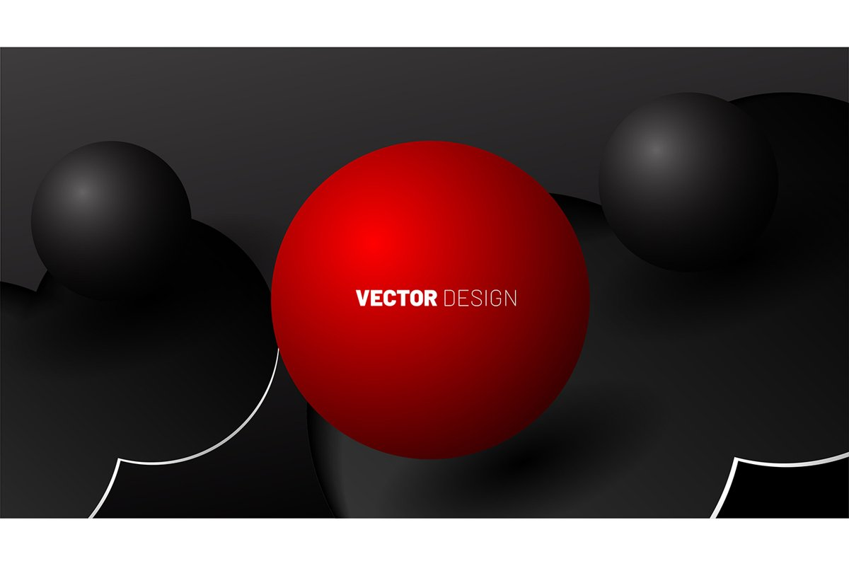 abstract vector background. 3D shapes of red balls and gray example image 1