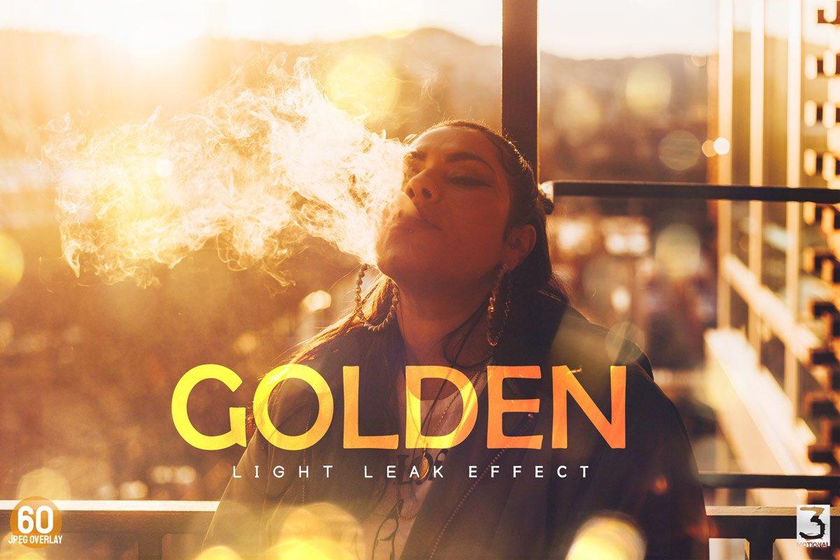 60 Golden light leak effect Overlay example image 1