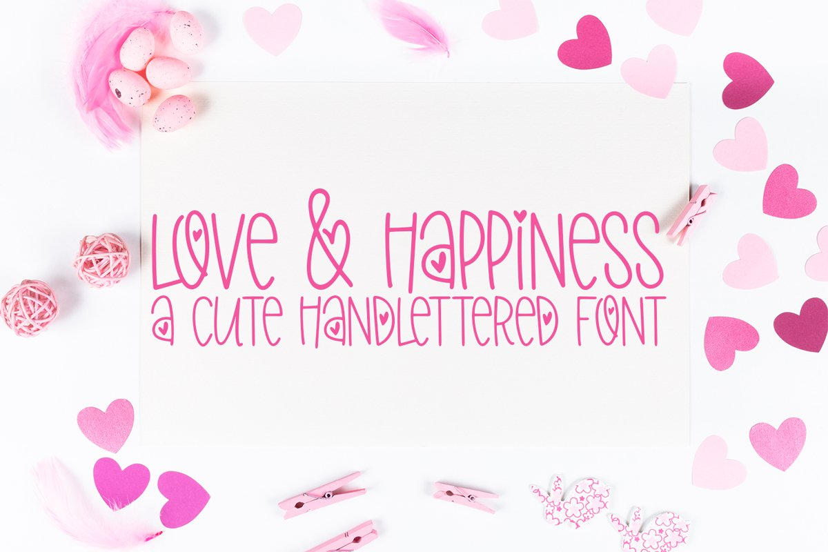 Love & Happiness - A Valentine's Day Hand-Lettered Font example image 1